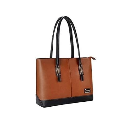 ZMSnow Laptop Bag,Classic Contrast Color Women Work Tote Bag 15.6 Inch Brie