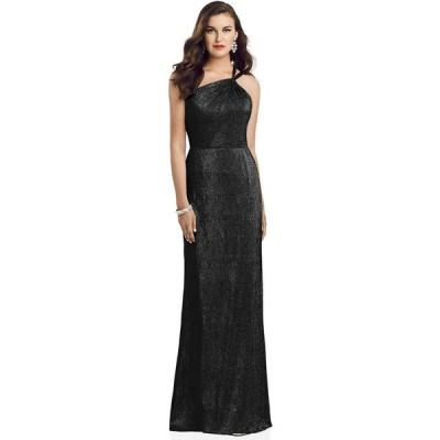 ディシーコレクション Dessy Collection レディース パーティードレス ワンショルダー ワンピース・ドレス One-Shoulder Metallic Gown Black