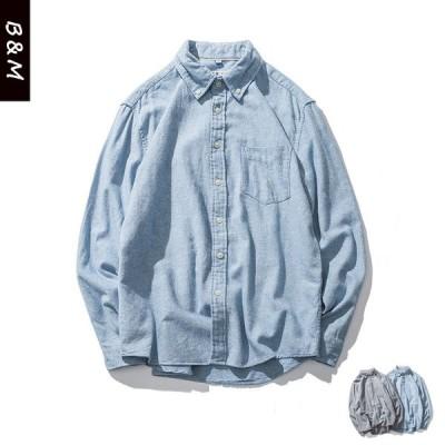 シャツ デニムシャツ メンズ 長袖 カジュアル 大きいサイズ アメカジ 春 秋 冬