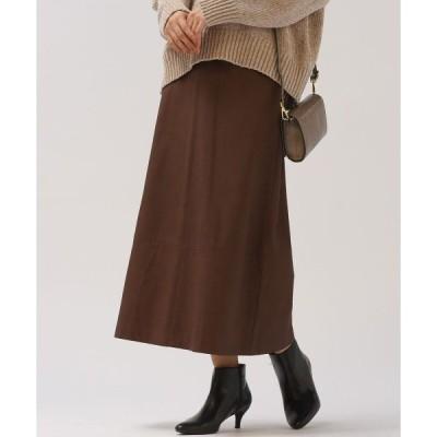 スカート 【socolla】レザー調ブロッキングスカート