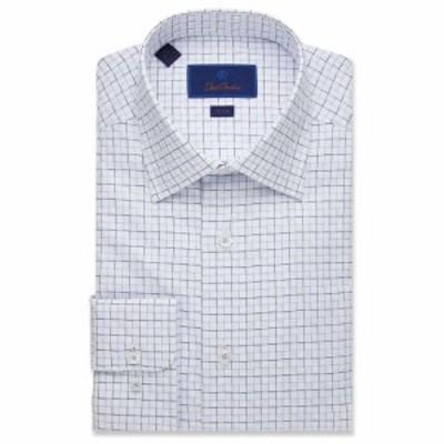 デビッドドナヒュー David Donahue メンズ シャツ トップス Trim Fit Textured Outlined Check Dress Shirt White