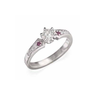 婚約指輪 ルビー 天然ダイヤモンド k18ホワイトゴールド