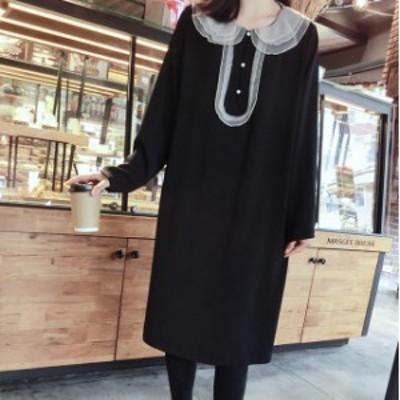 おめかしコーデ☆シースルー襟が可愛いブラックワンピース パールボタン デート お出掛け お呼ばれにも 秋冬 上品 清楚 D1044