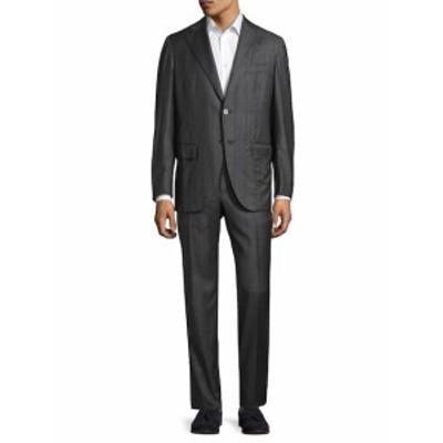 イザイア Men Clothing Striped Notch Lapel Suit