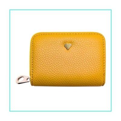 【新品】RFID Blocking Card Holder Wallet for Women, Leather Credit Card Holder Zipper Wallet (07 Yellow)(並行輸入品)