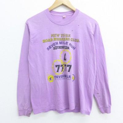 M/古着 長袖 ビンテージ Tシャツ 80s ニューヨーク リンゴ RUN クルーネック 紫 パープル 20aug18 中古 メンズ