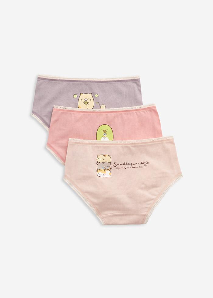 (女童三入組)角落小夥伴系列.球球緊帶三角內褲(粉色/淺粉/淺紫)