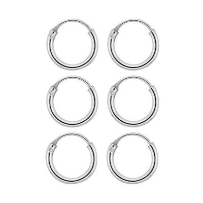 3 Pairs Sterling Silver Teeny Endless Hoop Earrings for cartilage, Nose and lips, 0.8cm round【並行輸入品】