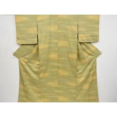 宗sou 霞模様織り出し一つ紋色無地着物【リサイクル】【着】