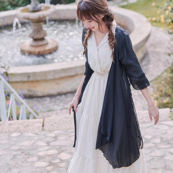 刺繡鉤花長版開襟罩衫外套