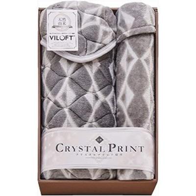 クリスタルプリント バイロフト混敷パッド&ニューマイヤー毛布 VIL81200 敷パッド