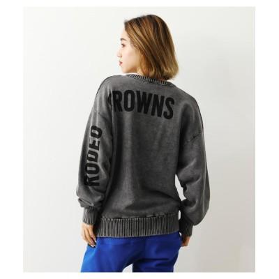 【ロデオクラウンズワイドボウル】 スウェットドッキングニットトップス レディース ブラック FREE RODEO CROWNS WIDE BOWL