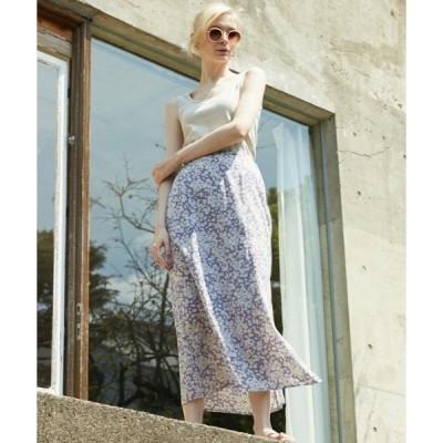 スカート 【低身長さん向けSサイズ有】単色花デシンスカート