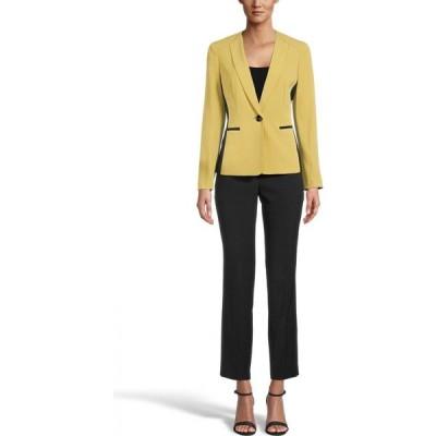 ル スーツ Le Suit レディース スーツ・ジャケット パンツスーツ アウター Contrast Blazer Pantsuit Citrine Yellow/Black