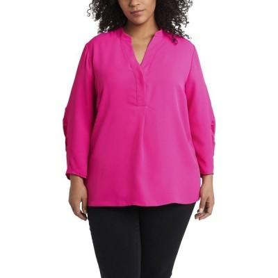 ヴィンスカムート カットソー トップス レディース Women's Plus Size Ruched Sleeve Henley Legacy Pink