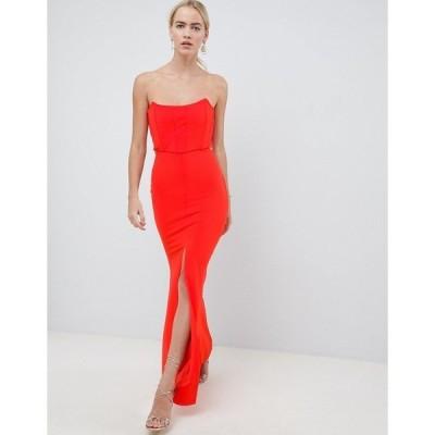 エイソス レディース ワンピース トップス ASOS DESIGN corset cut out maxi dress Red