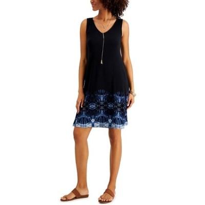 スタイルアンドコー ワンピース トップス レディース Petite Print Sleeveless Swing Dress Black Border Dye
