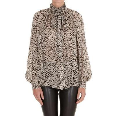 ピンコ レディース カットソー トップス Pinko Leopard Print Pussy-Bow Blouse -
