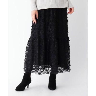 ORCHIDEA(オーキディア) 【LIZA(リザ)】ドット刺しゅうレースフレアロングスカート