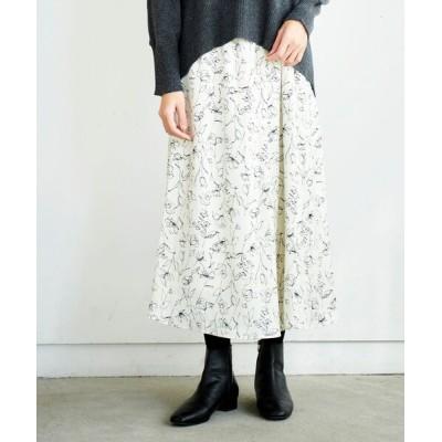 Perle Peche / ランダムフラワーフレアスカート WOMEN スカート > スカート