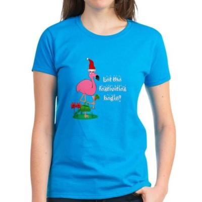 レディース 衣類 トップス CafePress - Christmas Flamingo - Women's Dark T-Shirt Tシャツ