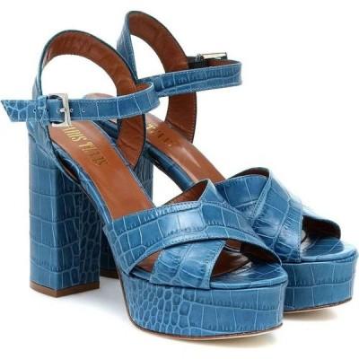 パリ テキサス Paris Texas レディース サンダル・ミュール シューズ・靴 Croc-effect leather sandals Oceano