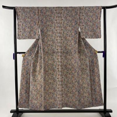 小紋 優品 人物 縮緬 薄紫 袷 身丈151cm 裄丈63cm S 正絹 中古