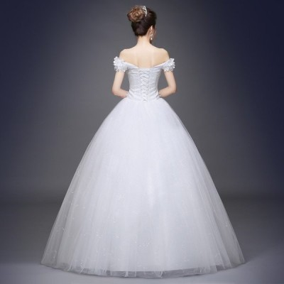 プリンセスラインウエディングドレス豪華な花嫁ドレス編み上げ二次会エンパイア演奏会発表会結婚式撮影写真大きいサイズ卸売り販売