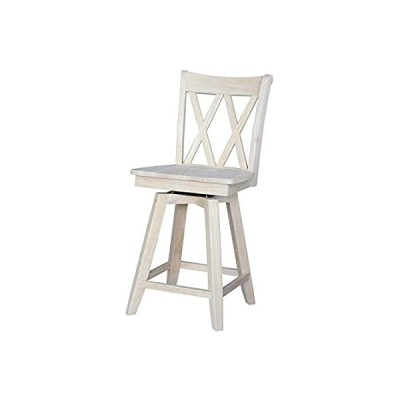 International Concepts Double X Back Counterheight Stool with Swivel and Au