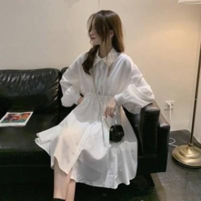 2色 シャツワンピース ボリューム袖 ひざ上丈 ウエストギャザー ホワイト ブラック レディース ファッション 韓国 オルチャン