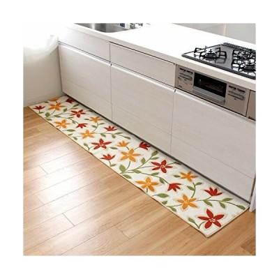 オカ キッチンマット パッションフラワー 約45×240cm ベージュ 洗える 日本製