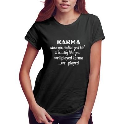 レディース 衣類 トップス Feisty and Fabulous Shirts for Mom Mom T Shirts for Women Funny Black Karma Tシャツ