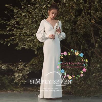 ウェディングドレス ウエディングドレス ロング丈 結婚式 ドレス お呼ばれ 長袖 セクシー 秋冬 2020新作 シンプル 着痩せ シンプル 韓国風 STARWEDDING