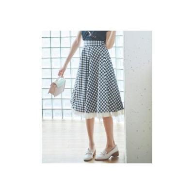 トランテアン ソン ドゥ モード 31 Sons de mode 裾チュールミディ丈柄スカート (モノトーン)