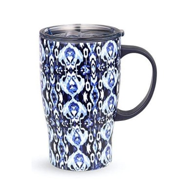 Vera Bradley Blue Stainless Steel Insulated Travel Mug with Handle and Lid