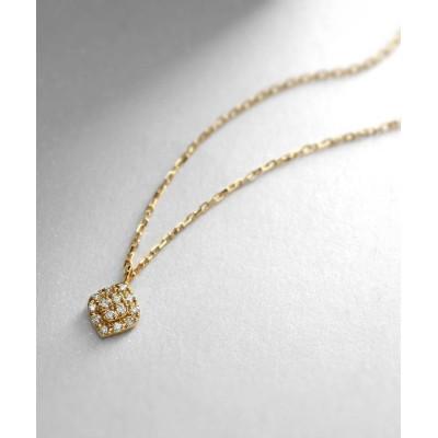 COCOSHNIK(ココシュニック) K18ダイヤモンド クラスター取巻き ロータスネックレス小