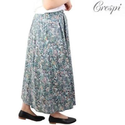 クレスピ Crespi リバティ LIBERTY プリーツ ロング スカート 日本製 38 花柄 シフォン ターコイズ ミモレ フレアスカート タナローン グリーン チャコール