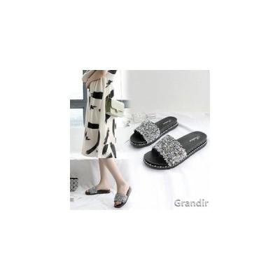 サンダル レディース 靴 履きやすい ミュール スパンコール キラキラ スリッパ フラットシューズ ぺたんこ おしゃれ カジュアル 美脚