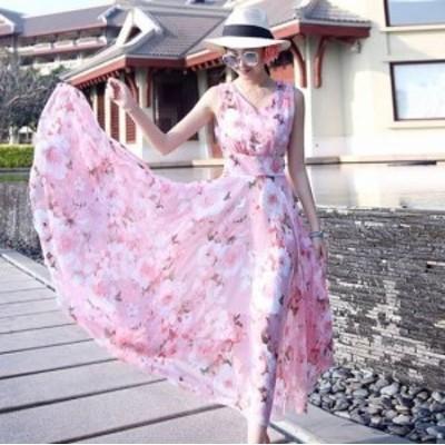 ロングワンピース ワンピース ロング丈 マキシワンピース ワンピース 大きいサイズ 夏ワンピース 夏 リゾート リゾートワンピ花柄 韓国