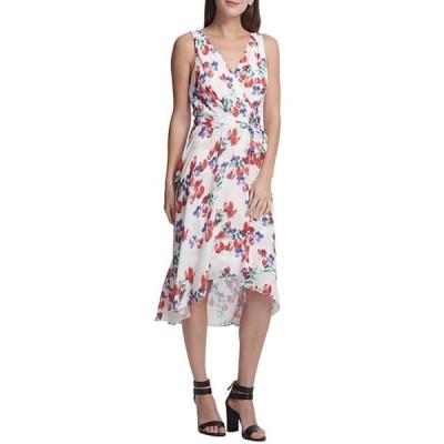ダナ キャラン ニューヨーク レディース ワンピース トップス V-Neck Ditsy Floral Print Chiffon Faux Wrap Tie Waist Midi Dress