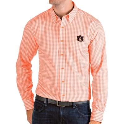 アンティグア Antigua メンズ シャツ トップス Auburn Tigers Orange Structure Button Down Long Sleeve Shirt