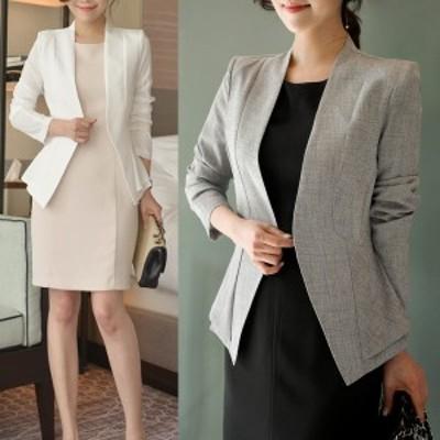 ノーカラージャケット シンプル スタイリッシュ S~Lサイズ 韓国ファッション 韓国ワンピース