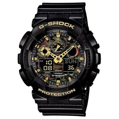 カシオ Gショック CASIO G-SHOCK カモフラージュ ダイアル アナデジ 腕時計 ブラック ゴールド GA-100CF-1A9JF 国内正規モデル