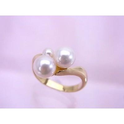 K18YG アコヤ真珠 可憐なリング 新品仕上げ済 10号 A175