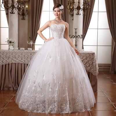 ウエディングドレス  バニエ付き 花嫁  結婚式 披露宴 二次会 パーティードレス Aラインタイプ 姫系トレス XS --XXL