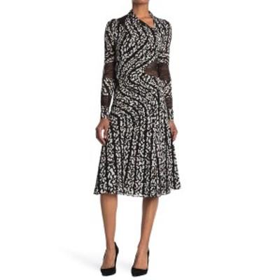 プロエンザショラー レディース ワンピース トップス Mock Neck Snap Front Silk Blend Midi Dress BLACK/WHITE BUG PRINT