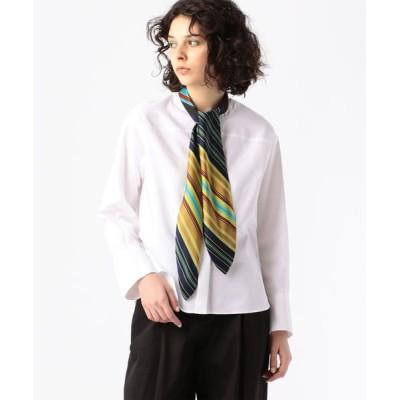 TOMORROWLAND/トゥモローランド コットン リキッドストライプスカーフノーカラーシャツ 68 ネイビー系 S(9号)