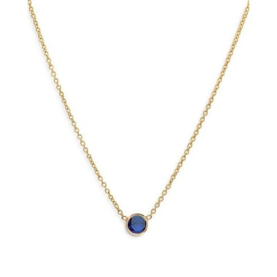 ゾエレフ レディース ネックレス・チョーカー アクセサリー 14K Yellow Gold Blue Sapphire Birthstone Solitaire Pendant Necklace 16-18
