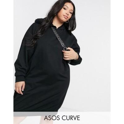エイソス ドレス 大きいサイズ レディース ASOS DESIGN Curve hoodie sweat dress in black エイソス ASOS ブラック 黒