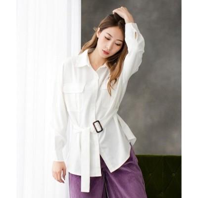 シャツ ブラウス ベルト付きオーバーサイズシャツ/510486